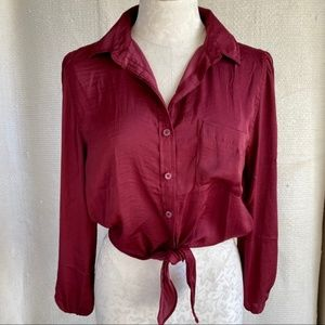 American Eagle Silky Tie Crop Button Down Blouse